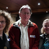 Committee Members Fran Madigan (L) and Ann Philpott (R) with Rod Andrew