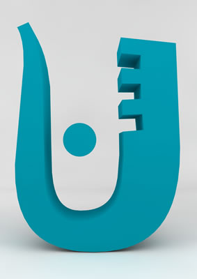 lettre 3D homme joker turquoise - U - images libres de droit