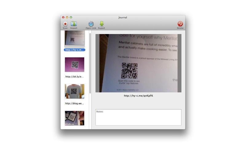 Read QR Code Using iSight Camera With Free QR Journal