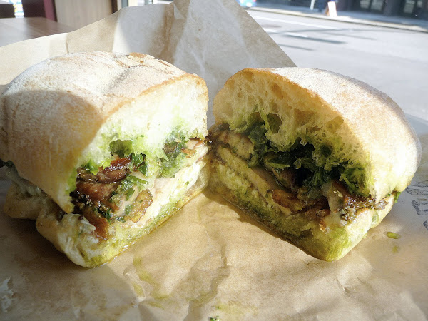 Lardo's signature porchetta sandwich with caper aioli, gremolata, Lardo west, bringing the fat back, Portland restaurant, sandwich restaurant
