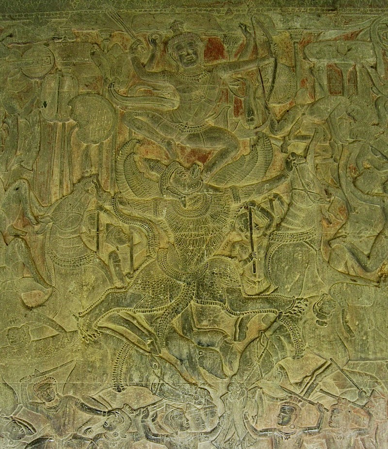 relief on the wall of Angkor Wat's galleries