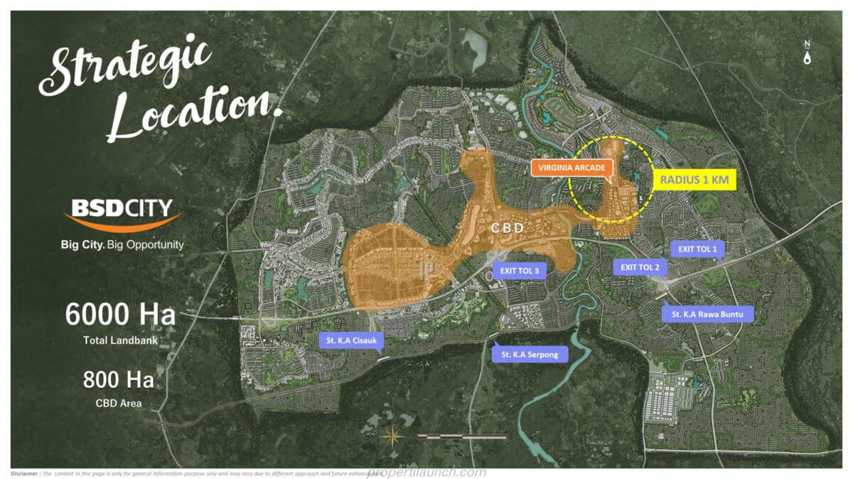 Peta Lokasi Virginia Arcade BSD