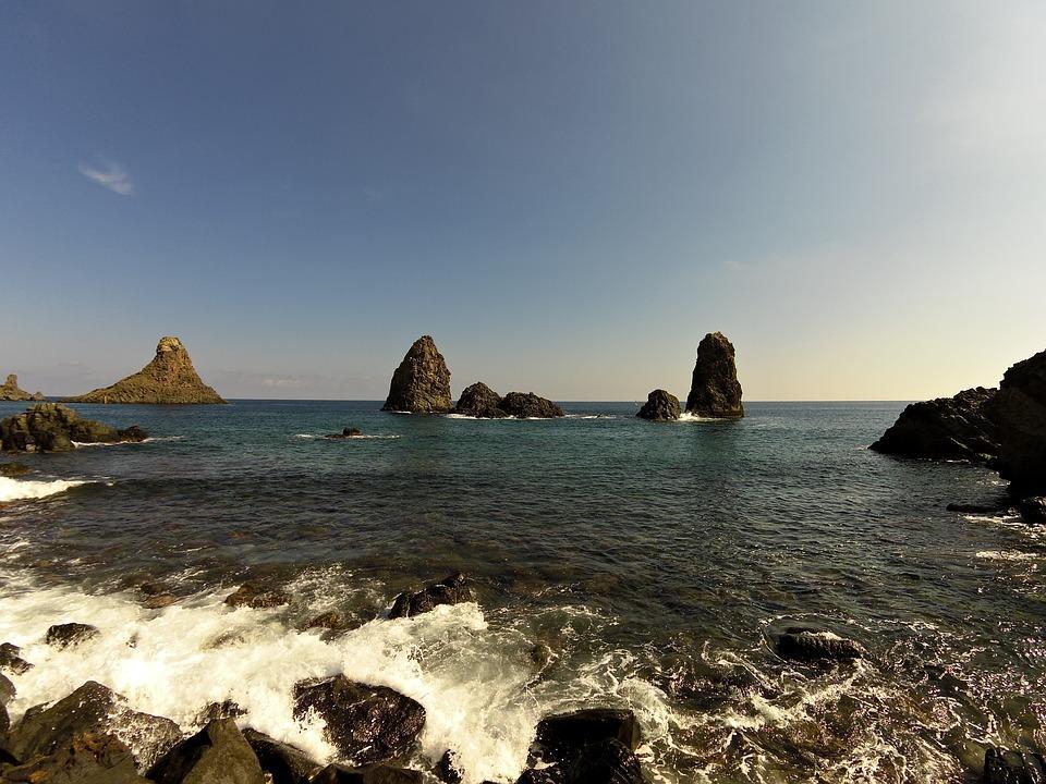 Faraglioni, Acitrezza, Mare, Sicilia, Scoglio, Azzurro