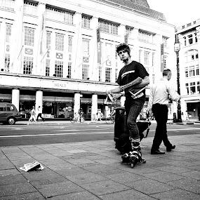 London Paper Man by Ibrahim Johan - People Street & Candids ( b&w, london, street )