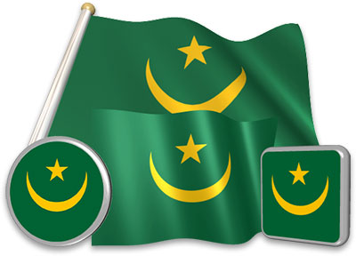 Mauritanian flag animated gif collection