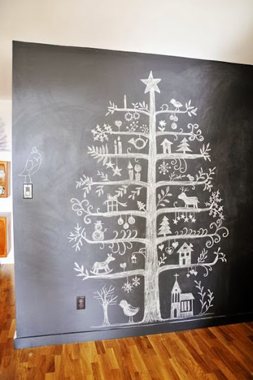 Christmas tree painted on blackboard