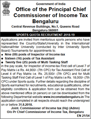 Income Tax Bengaluru Notification 2018 www.indgovtjobs.in