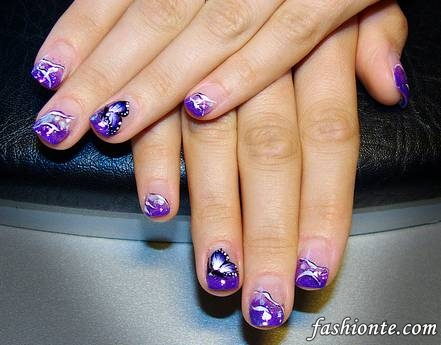 Purple Stars Tips Nail Designs Fashionte