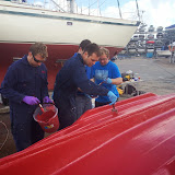 The final coat of paint is applied by Poole crew members including Alex Evans and James Kilburn - 2 November 2014.  Photo credit: Paul Taylor