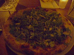 Nostrana, Cathy Whims, Funghi Verde pizza with shiitake mushrooms, house mozzarella, garlic, arugula, pecorino sardo, lemon oil, Portland