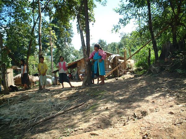 Et puis au bout de 30 minutes de piste, deux trois maisons se distinguaient au milieu de la jungle. Première halte !  Joy causa avec les villageois pour nous rapporter que le village était plus loin à quelques kilomètres. En observant autour de moi, il était clair que la vie est rude dans ce coin du monde ! L'électricité n'est qu'un rêve, l'eau de pluie suffit, et les cochons rentrent dans les maisons s'ils le désirent ! Pour des raisons de confort, j'ai proposé la marche à pied pour rejoindre le village. Je ne supportais plus la Suzuki. D'ailleurs, Mort au Suzuki !