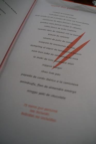 Carta del Restaurante dos palillos barcelona
