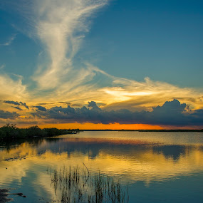 indian river sunset by David Ubach - Landscapes Sunsets & Sunrises ( water, clouds, grass, sunset, indian river, titusville )