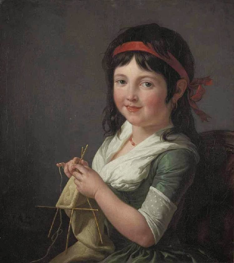 François-André Vincent - A young girl knitting