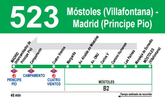 Refuerzo del servicio de la línea 523 de autobuses interurbanos