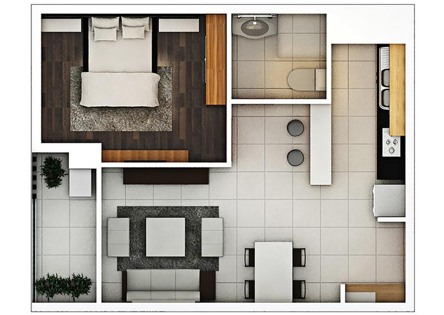 Phối cảnh 2D căn hộ 1 phòng ngủ DT: 48,12 m2