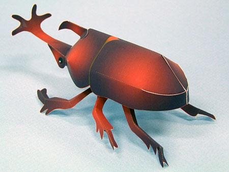 Japanese Rhino Beetle Papercraft Kabutomushi