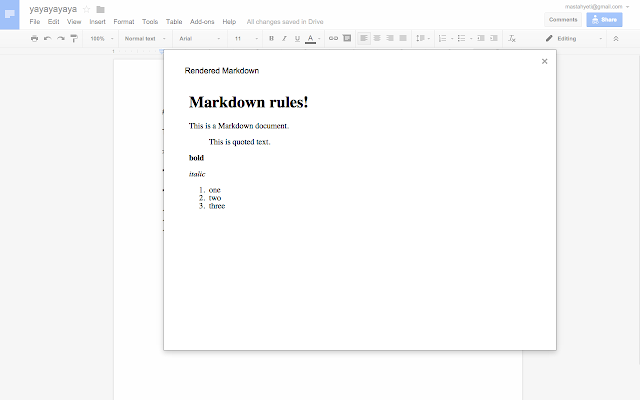 Markdown Preview - Google Docs add-on