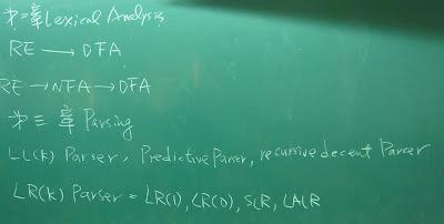期末考的重點:第二章RE->NFA->DFA,第三章.LL, LR Parsers