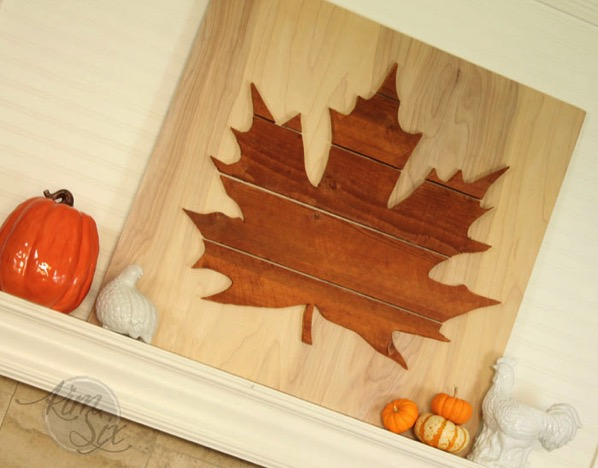 Oversized wooden leaf cuttout