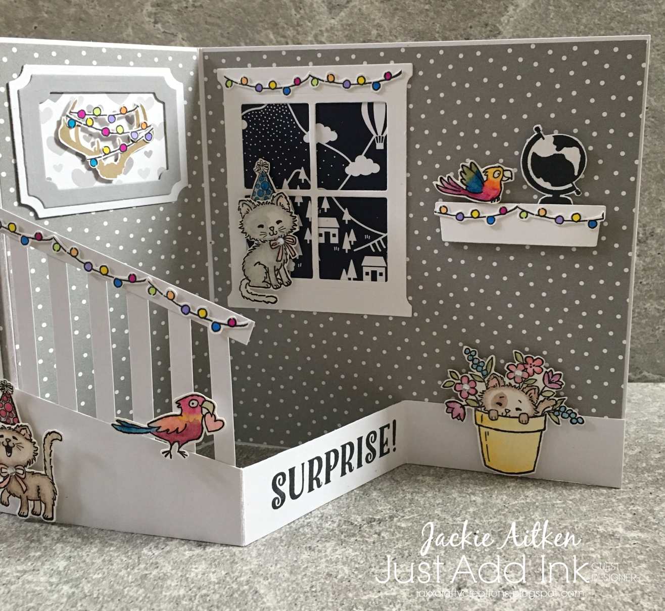 stampin up fancy fold, pretty kitty, bella and friends, bookcase builder, hearth and home framelits