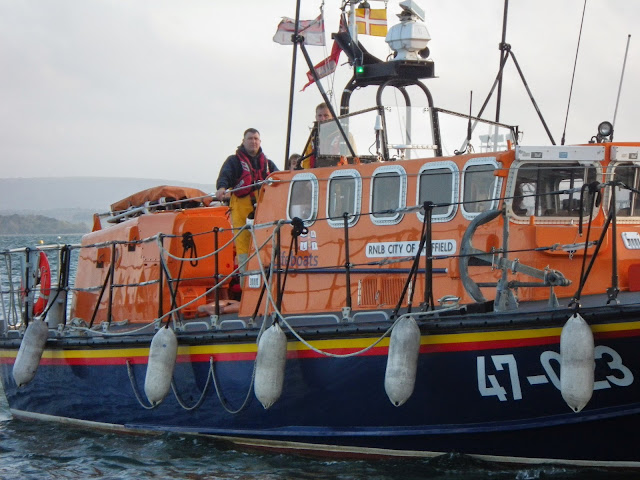 Poole ALB coming alongside Dolphin III during a training exercise - 22 April 2014 Photo: RNLI Poole/Anne Millman