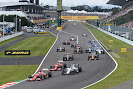 Going into 1st corner after start of the 2015 Japanese F1 GP