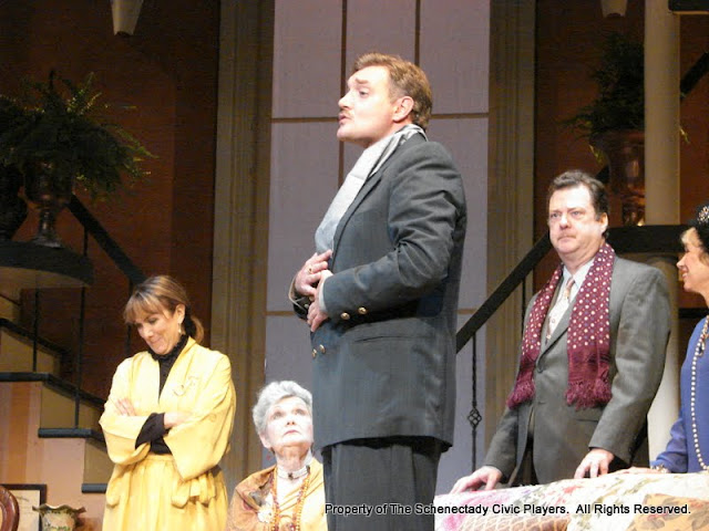 Benita Zahn, Joanne Westervelt, Randy McConnach, Richard Michael Roe and Patricia Hoffman in THE ROYAL FAMILY (R) - December 2011.  Property of The Schenectady Civic Players Theater Archive.