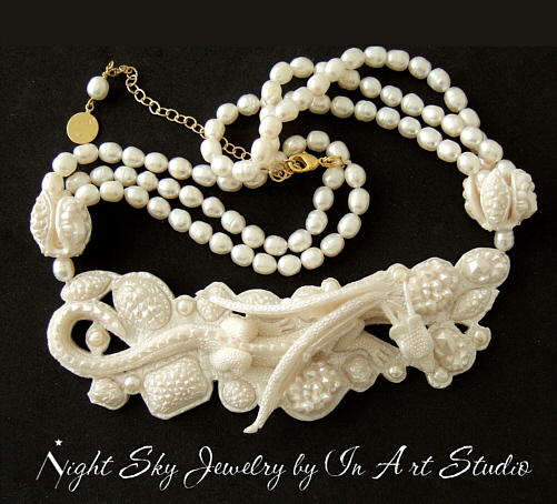 Dragon Necklace - White Pearl Dragon Jewelry