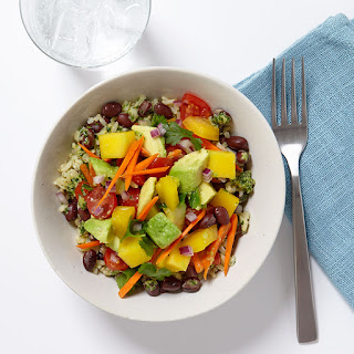Brown Rice and Veggie Bowl with Ginger-Lime Dressing.