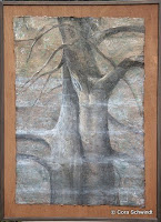 """""""Der Kuss am Waldsee"""", Pastell und Goldpigmente, 70x60, 2005, verkauft"""