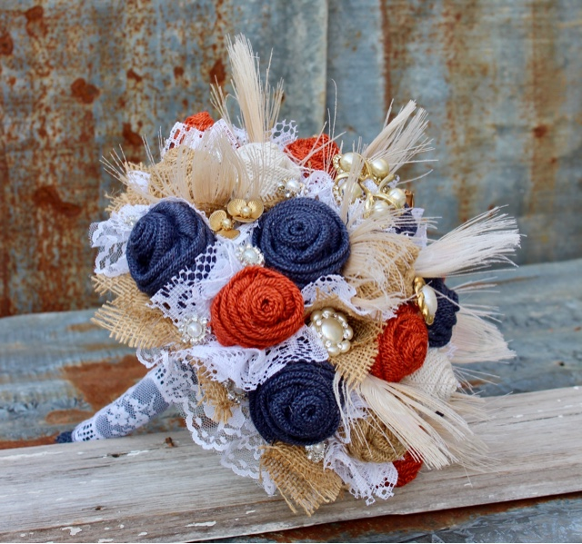 Vintage brooch bouquet with fabric flowers