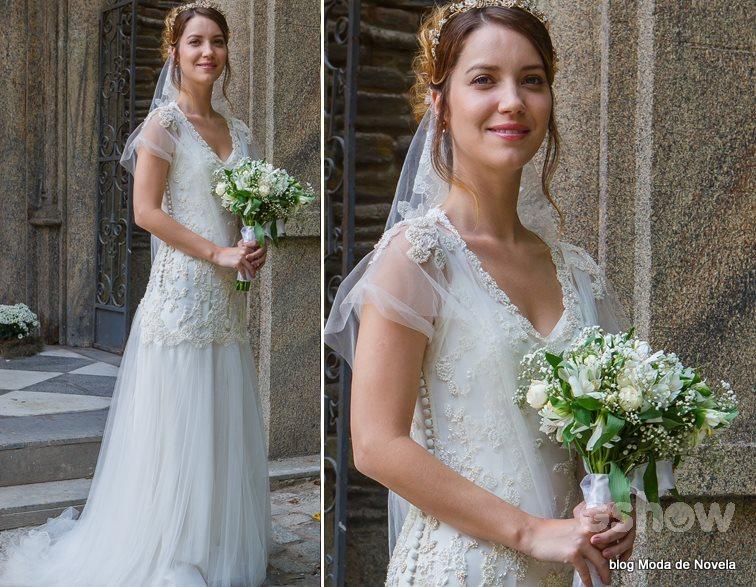 moda da novela Alto Astral, vestido de noiva da Laura