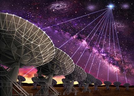 ilustração da localização de uma explosão rápida de rádio captada pelo VLA