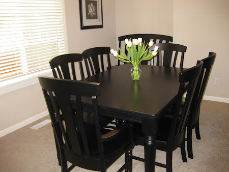 Farmhouse Dining Table and Marseille Chairs in Midnight Oak