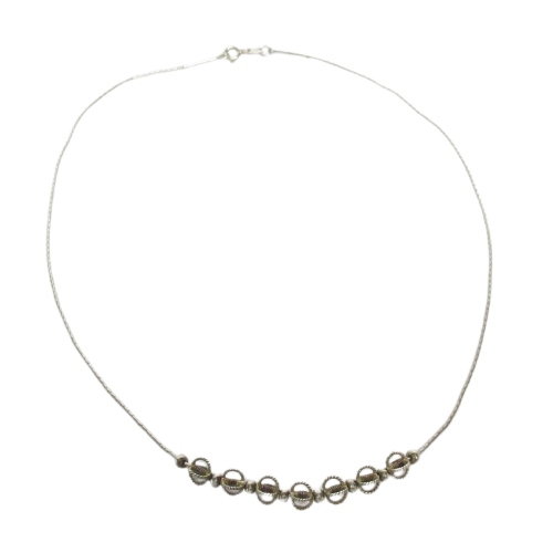 Sterling Silver  Sliding Bead Chain Necklace