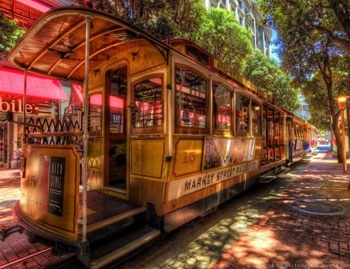 Trams on Powell Street San Francisco