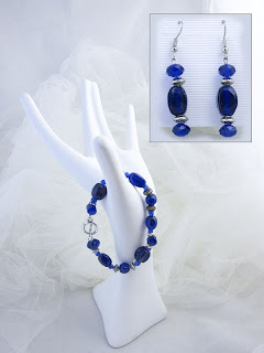 Contemplation's companions - Blue glass beads, crystals, & silver plated spacers $24