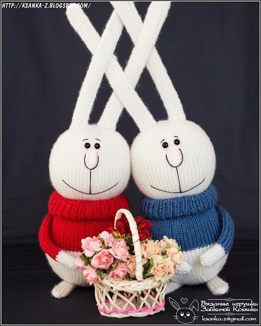 Амигуруми, вязаные игрушки, игрушки спицами, игрушки крючком, вязаные зайцы, зайцы спицами, Amigurumi, crocheted toys, Knitting toys, Rabbit knitted