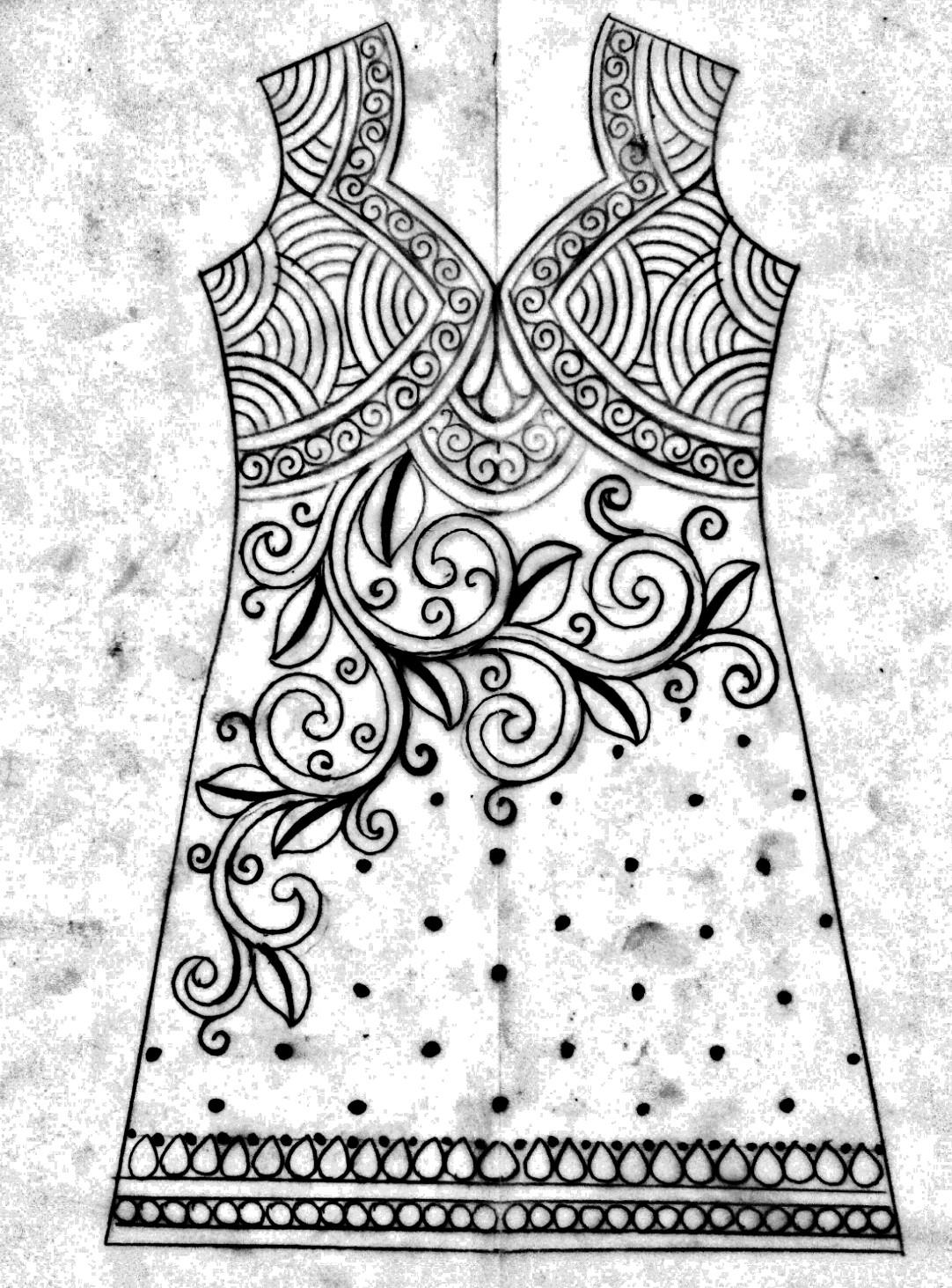 Hand embroidery dress design drawing for fashion design/how to draw fashion designer Dress/kameez design drawing.