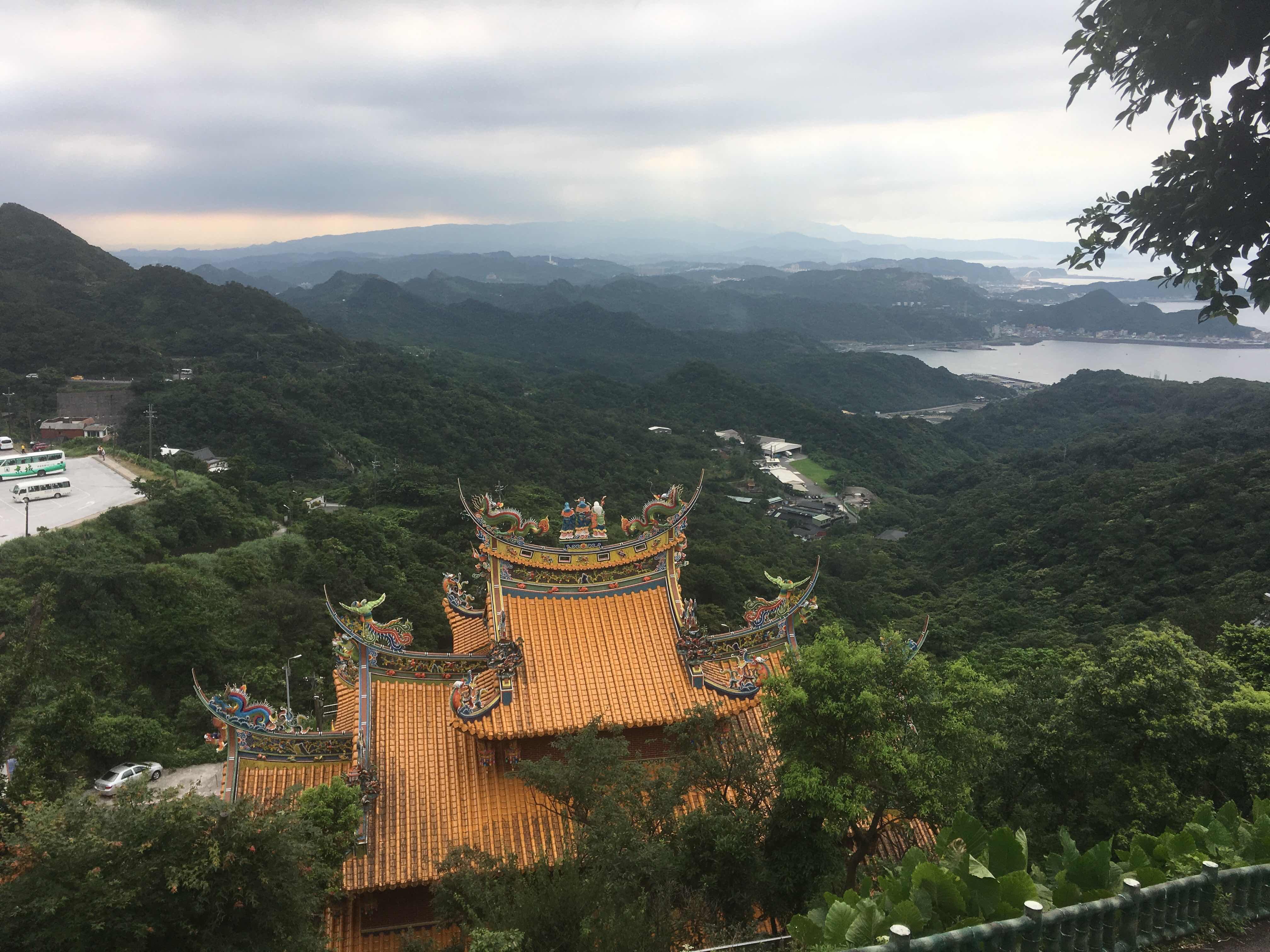 jiufen old street taipei ruifang jiufen taiwan temple sea mountains view