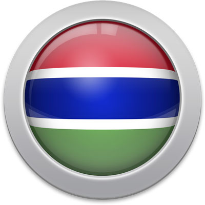 Gambian flag icon with a silver frame