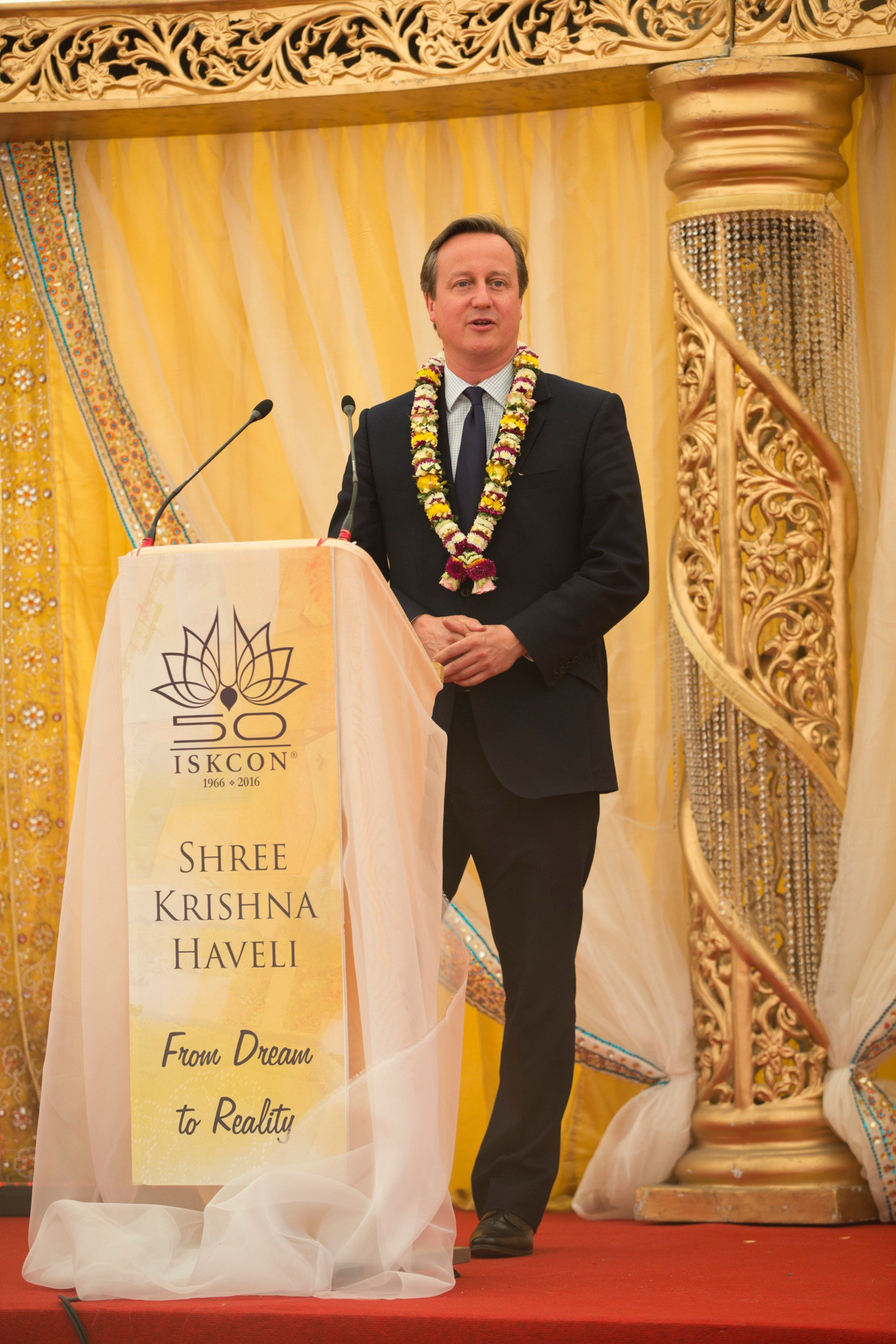 UK Prime Minister David Cameron celebrates ISKCON's 50th anniversary