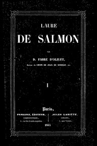 Cover of Fabre d'Olivet's Book Laure de Salmon, Tome I (1845,in French)