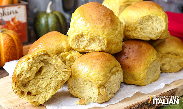 pumpkin dinner rolls stacked