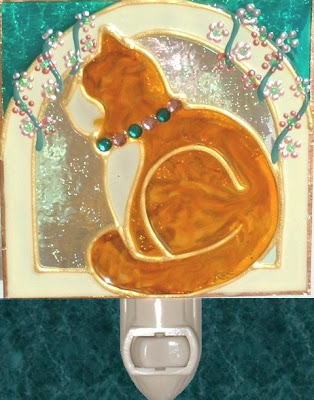 orange ginger tabby cat night light