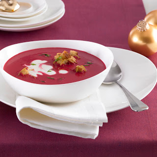 Rote Beete Cremesuppe Zitronen-Croutons