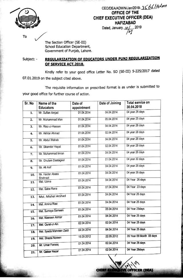 REGULARIZATION OF EDUCATORS UNDER PUNJAB REGULARIZATION OF SERVICES ACT 2018 IN HAFIZABAD