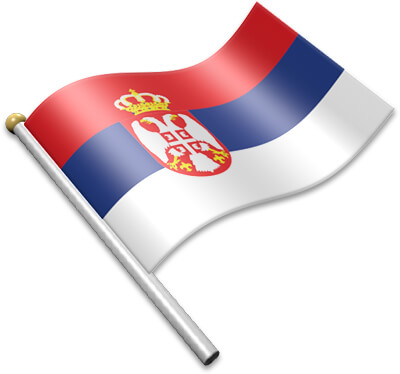The Serbian flag on a flagpole clipart image