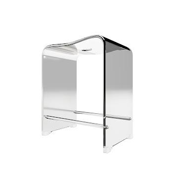 Duschsitz aus Acryl, transparent, 39 x 27,5 x 47 cm